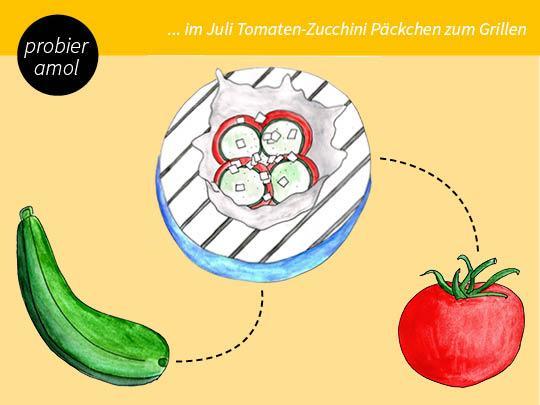 Zucchini - Tomate - Feta - Knoblauch - Päckchen zum Grillen