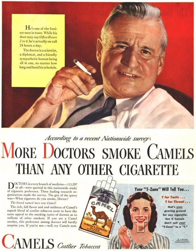 """""""More Doctors Smoke Camels"""" campaign by R. J. Reynolds Tobacco Company - 1946"""